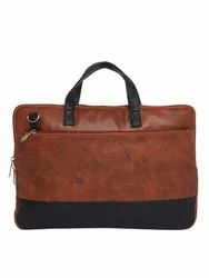 i - SAC Tan 7.3 Liter Travel Faux Leather Laptop Messenger Bags For 14 Inch Laptops.