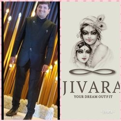 Wedding Plain Black Jacquard Self Design Jodhpuri Suit, Size: M-XXL