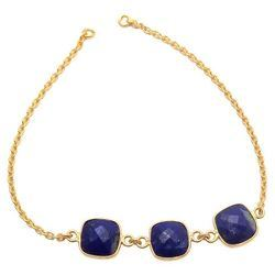 925 Sterling Silver Gold Micron Plated Chain Cushion Bracelet For Girls Females Womens And Ladies