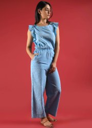 Handmade Comfortable Boho Fashion Wear Cotton Blue Jumpsuit