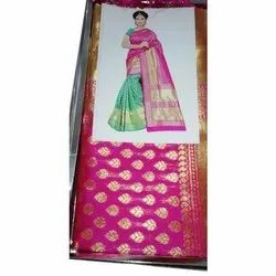 Party Wear Pure Traditional Silk Saree with Blouse Piece, Packaging Type: Plastic Bag