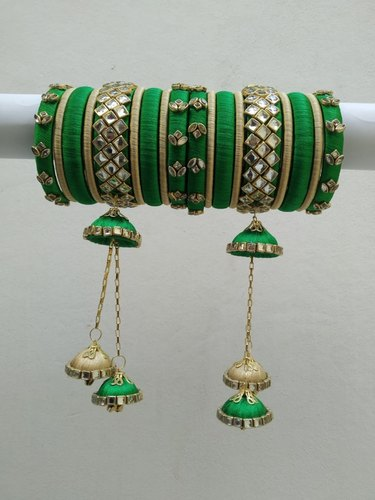 Green Silk Thread Kundan Work Bangle Set, For Wedding Party Haldi, Round