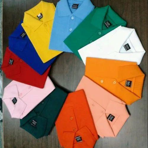 Hosiery Half Sleeves Kids School Uniform Plain Collar T Shirt