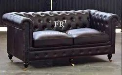 Hospitality Furniture - New Nordic Style Furniture Vintage Leather Chesterfield Sofa for Restaurants