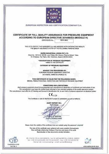 Ce Certification PED (2014/68/EU) Pressure Equipment Certification Services