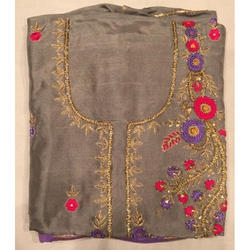 Silk Grey Ladies Unstitched Embroidered Fancy Suit