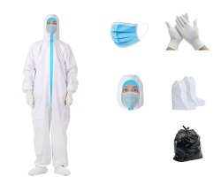 PPE Safety Kit With Hood Cap, 3 Ply Mask & Hand Gloves Blue