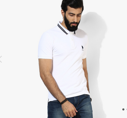 Us Polo Assn White Solid Regular Fit Polo T Shirt At Rs 1399 Piece