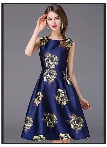 07c94bc686 WIGGLEE New Dark Blue Taffeta Silk Printed Western Dress at Rs 899 ...