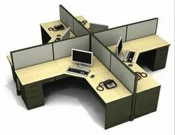 Green & Wooden L Shape Workstations