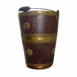 Brown And Golden Decorative Wooden Vase