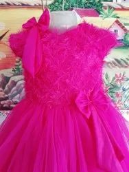 Female Girls Party Wear Pink Color Long Gown, Size: 1-6 yrs