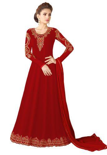 9dd1251df365 Justkartit Georgette Women  s Maroon Red Party Wear Anarkali Suits Dress  Material 2018