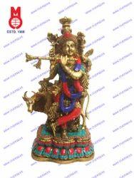 Lord Krishna Standing W/Cow W/Stone Work Statues