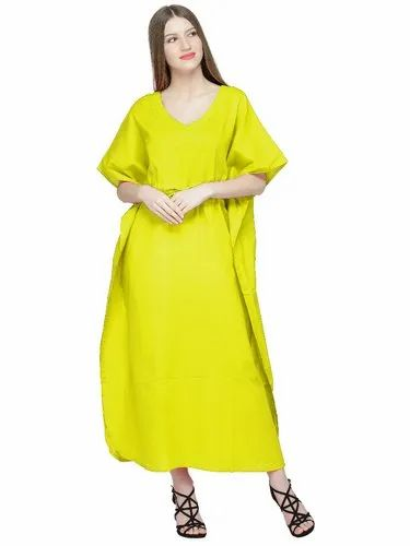 b63d53d668e Skavij Cool Kaftans Embroidered Robe Cotton Caftan Nightgown Beach Cover Up Plus  Size - Yellow