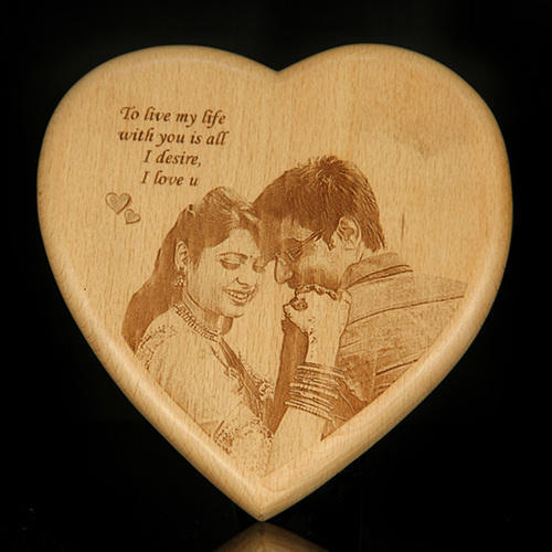 Personalized Heart Shape Wooden Engraved Plaque
