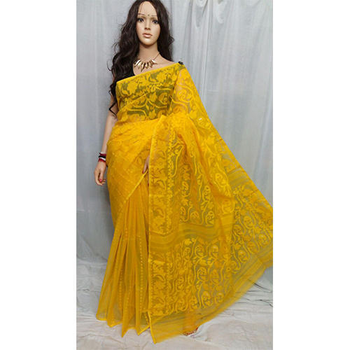 d927b3d7d166b Cotton Yellow Dhakai Jamdani Saree Without Blouse Piece