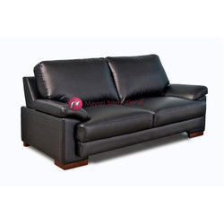 Leather and Wooden Two Seater Black Sofa OS2S-P-003