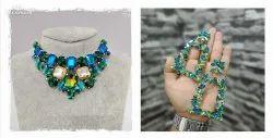 Brass Western Multicolor Glass Beads Earings