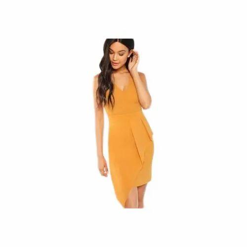 Ladies Mustard Color Dress