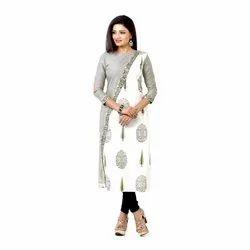 Ladies Casual Wear Grey And White Designer Kurta