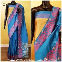 Indian Ethnic Designer Raw Silk Saree With Waves