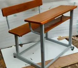 2 Seater School Wooden Desk and Bench