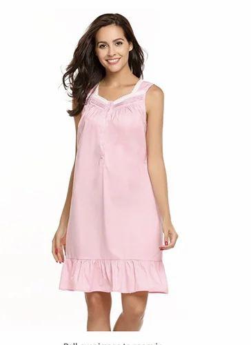 b35e97713 Womens Nightgown 100% Cotton Long Sleeveless Sleepwear S-XL at Rs ...