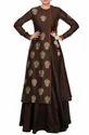 Brown Block Print Angrakha With Skirt