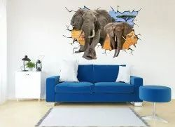 Multicolor Modern 3D Wall Stickers, For Ideal To Decorate Bedrooms, Packaging Size: Compact