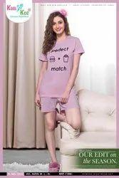 Thigh Length Pink KuuKee 004 Bermuda Nightwear, 15-40 Year