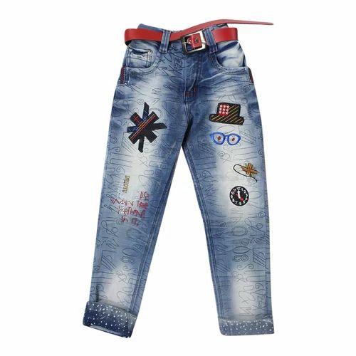 H.N Denim Kids Trendy Faded Party Wear Jeans