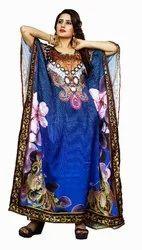 Digital Floral Printed Beach Wear Long Kaftan Kurtas For Women