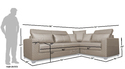 Adorn India Bentley Corner Sofa ( Grey)
