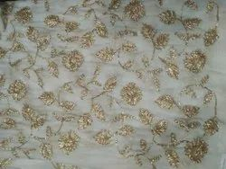 Gold Ribbon Embroidered Fabric
