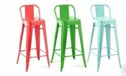 Red Powder Coated Iron Chairs, For Restaurant