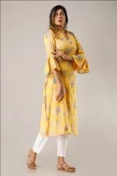 Casual  Wear and Party Wear Designer Rayon Hand Beaded Kurti