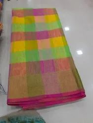 Party Wear checked beautiful colours cotton net saree, 6.3 m with blouse, Machine Made