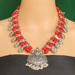 Beadsnfashion Assorted Ethnic Oxidized Silver Necklace
