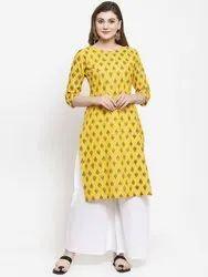 Yellow Cotton Ladies Regular Wear Designer Kurti, Age Group: 18 - 50
