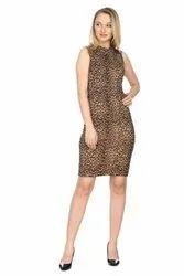 Cotton Western Wear Animal Print Ladies Dress