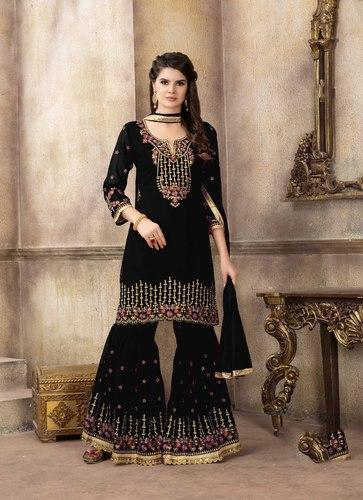 7711c008605 Georgette Embroidery Party Wear Semi-Stitched Sharara Suits