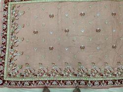 Zardozi Fancy Heavy L.Mahron Net Embroidery Sarees