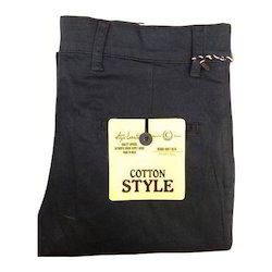 Black Casual Mens Cotton Trouser