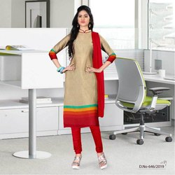 Cotton Semi-Stitched 3/4th Sleeves Churidar Suit