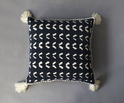 Mud Cloth Stone Wash Cushion Cover With Tassels