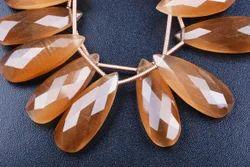 Honey Fire Cats Eye Quartz Pear Beads