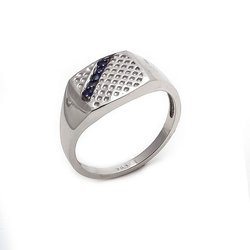 Natural Blue Sapphire Husband Silver Fine Ring