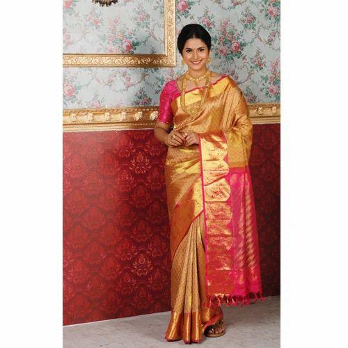 Golden And Pink Wedding Wear Bridal Wear Bridal Silk