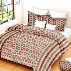 Double Bed Sheet Pillow Cover Set Cotton